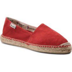 Espadryle ESPADRILLES - Alparga.3C 20305-21778-1 Ante Rojo. Czerwone espadryle damskie marki Espadrilles, ze skóry, na płaskiej podeszwie. W wyprzedaży za 169,00 zł.