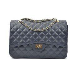 Torebki i plecaki damskie: Skórzana torebka w kolorze granatowym – (S)22 x (W)32 x (G)12 cm