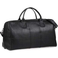 Torby podróżne: Casual skórzana torba podróżna na ramię czarna