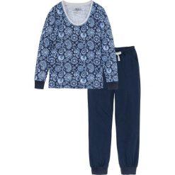Piżama z długim rękawem bonprix ciemnoniebiesko-jasnoszary melanż z nadrukiem. Niebieskie piżamy damskie bonprix, melanż, z długim rękawem. Za 79,99 zł.