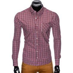Koszule męskie: KOSZULA MĘSKA Z DŁUGIM RĘKAWEM K427 – BORDOWA/BŁĘKITNA
