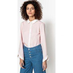 Koszula prosta kołnierz polo, koszulowy, długi rękaw. Koszule w niebieskie paski marki Vero Moda, l, z bawełny, z koszulowym kołnierzykiem, z długim rękawem. Za 141,08 zł.