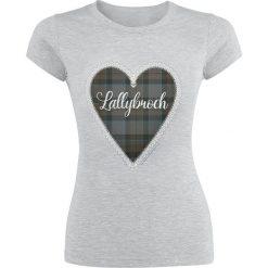 Outlander Lallybroch Love Koszulka damska odcienie szarego. Szare bluzki asymetryczne Outlander, l, z nadrukiem, z okrągłym kołnierzem. Za 74,90 zł.