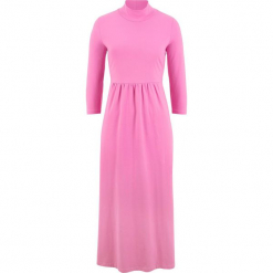 Sukienka, rękawy 3/4 bonprix lila - różowy. Różowe sukienki marki numoco, l, z dekoltem w łódkę, oversize. Za 89,99 zł.