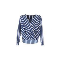 Bluzki Guess  MALOU. Niebieskie bluzki na imprezę Guess, l, z aplikacjami. Za 349,00 zł.