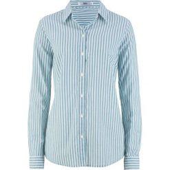 Bluzka, długi rękaw bonprix kobaltowo-turkusowo-biały w paski. Niebieskie bluzki asymetryczne bonprix, w paski, z długim rękawem. Za 54,99 zł.