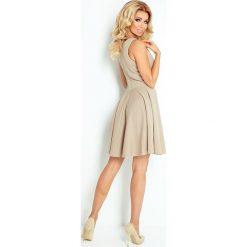 Sukienki: Veronica Sukienka KOŁO – dekolt łódka – CEGIEŁKA – BEŻOWA