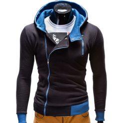 Bluzy męskie: BLUZA MĘSKA ROZPINANA Z KAPTUREM B297 – CZARNA