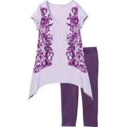 Piżamy damskie: Piżama ze spodniami 3/4 bonprix jagodowo-bez z nadrukiem