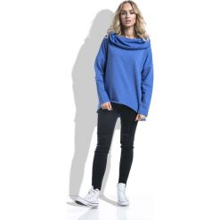 Chabrowa Bluza Asymetryczna Melanżowa z Kapturem. Niebieskie bluzy damskie marki Molly.pl, m, melanż, z bawełny, z krótkim rękawem, długie, z kapturem. Za 129,90 zł.