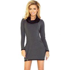 Wiktoria Golf - sukienka z dużymi kieszeniami - GRAFIT z CZARNĄ pętelką. Czarne sukienki na komunię numoco, z golfem. Za 126,99 zł.