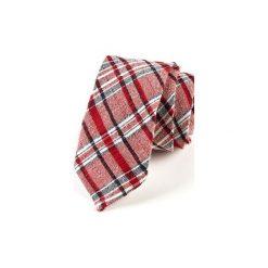 Krawat męski  SORIA. Czerwone krawaty męskie HisOutfit, z materiału. Za 129,00 zł.