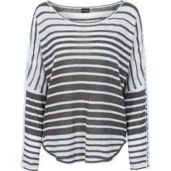 Swetry damskie: Sweter bonprix brunatno-biały w paski