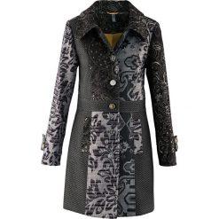 Płaszcz w żakardowy wzór bonprix czarno-kolorowy. Czarne płaszcze damskie pastelowe bonprix, w kolorowe wzory, z materiału. Za 299,99 zł.