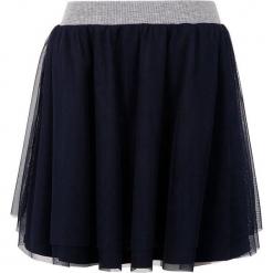 Spódnica w kolorze granatowym. Białe spódniczki dziewczęce marki Marc O'Polo Junior, z nadrukiem, z okrągłym kołnierzem, z długim rękawem. W wyprzedaży za 77,95 zł.