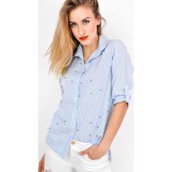 Koszule damskie: Koszula w paski z perełkami