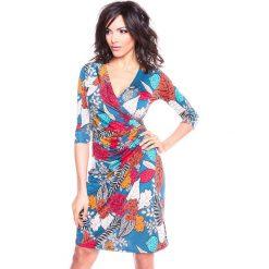"""Sukienki hiszpanki: Sukienka """"Automne"""" w kolorze morskim ze wzorem"""