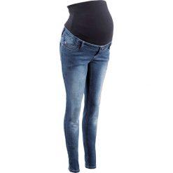 """Dżinsy ciążowe SKINNY bonprix niebieski """"stone"""". Niebieskie jeansy damskie marki bonprix, z nadrukiem. Za 139,99 zł."""