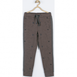 Spodnie. Brązowe chinosy chłopięce Cosmic, z nadrukiem, z bawełny. Za 59,90 zł.