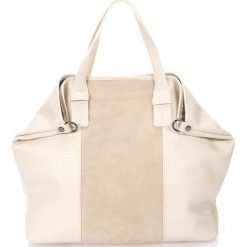 Torebki i plecaki damskie: Skórzana torebka w kolorze beżowym – 60 x 44 x 15 cm