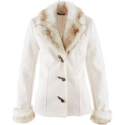 Kurtka ze sztucznej skóry bonprix ecru. Białe kurtki damskie bonprix, ze skóry. Za 89,99 zł.