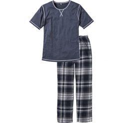 Bielizna męska: Piżama bonprix niebieski melanż w kratę
