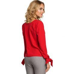 Bluzka z pliską i wiązanymi mankietami - czerwona - 2