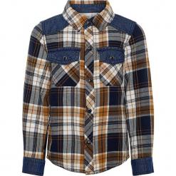 """Koszula """"Saturn"""" w kolorze jasnobrązowo-granatowym. Brązowe koszule chłopięce marki Name it Mini & Kids, w kratkę, z bawełny, z klasycznym kołnierzykiem. W wyprzedaży za 62,95 zł."""