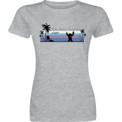 Lilo & Stitch Palm Beach Koszulka damska odcienie szarego. Szare t-shirty damskie Lilo & Stitch, m, z nadrukiem, z okrągłym kołnierzem. Za 54,90 zł.