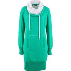 Sukienka dresowa, długi rękaw bonprix szmaragdowy melanż. Szare długie sukienki marki bonprix, melanż, z dresówki, z kapturem, z długim rękawem. Za 109,99 zł.