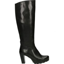 Kozaki - 184127FY V NE. Czarne buty zimowe damskie marki Kazar, z futra, przed kolano, na wysokim obcasie, na koturnie. Za 589,00 zł.