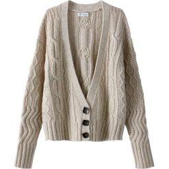 Swetry damskie: Kardigan z dekoltem V, zapięcie na guziki, wełna