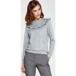 Swetry klasyczne damskie: Szary Sweter z Falbanką