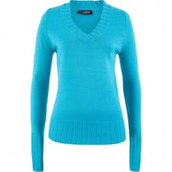 Sweter z dekoltem w serek bonprix turkusowy. Niebieskie swetry klasyczne damskie bonprix, z materiału, z dekoltem w serek. Za 44,99 zł.