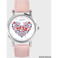 Zegarki damskie: Zegarek – Folkowe ptaszki – pudrowy róż
