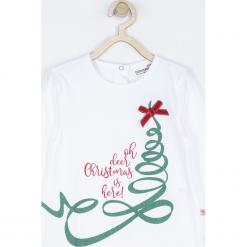 Koszulka. Białe bluzki dziewczęce bawełniane Merry Christmas, z napisami, z kokardą, z długim rękawem. Za 49,90 zł.