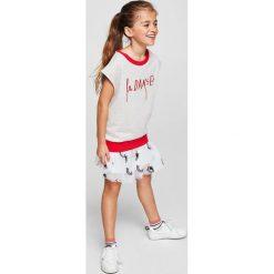 Mango Kids - Spódnica dziecięca Dust 104-152 cm. Szare minispódniczki marki Mango Kids, l, z haftami, z bawełny, rozkloszowane. W wyprzedaży za 49,90 zł.