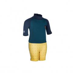 Krótki kombinezon UV surfing dla malucha. Niebieskie kombinezony damskie OLAIAN, s, z elastanu, sportowe, z krótkim rękawem, krótkie. W wyprzedaży za 29,99 zł.