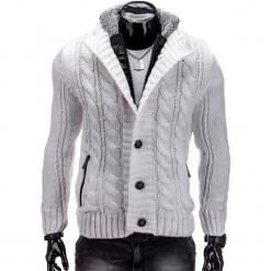 SWETER MĘSKI ROZPINANY E72 - BIAŁY. Białe kardigany męskie Ombre Clothing, m, z poliamidu, klasyczne, z klasycznym kołnierzykiem. Za 39,00 zł.