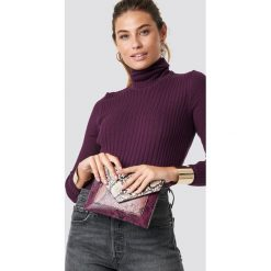 Trendyol Sweter z marszczonym golfem - Purple. Szare golfy damskie marki Vila, l, z bawełny, z okrągłym kołnierzem. Za 80,95 zł.