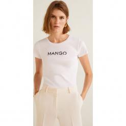 Mango - Top Mnglogo. Szare topy damskie Mango, l, z nadrukiem, z bawełny, z okrągłym kołnierzem. Za 29,90 zł.
