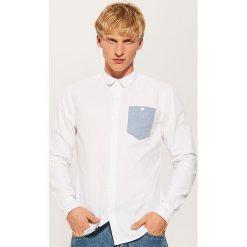 Koszula z kontrastową kieszonką - Biały. Szare koszule męskie marki House, l, z bawełny. Za 69,99 zł.