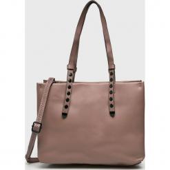 Answear - Torebka. Szare torebki klasyczne damskie marki ANSWEAR, w paski, z materiału, duże. Za 119,90 zł.
