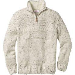 Swetry męskie: Sweter ze stójką Regular Fit bonprix kremowy melanż