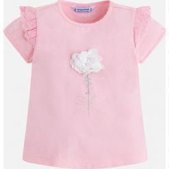 Mayoral - Top dziecięcy 98-134 cm. Różowe bluzki dziewczęce Mayoral, z aplikacjami, z bawełny, z okrągłym kołnierzem, z krótkim rękawem. Za 79,90 zł.
