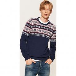 Wzorzysty sweter - Granatowy. Niebieskie swetry klasyczne męskie marki bonprix, m, melanż. Za 89,99 zł.