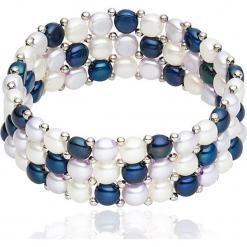 Bransoletka perłowa w kolorze biało-granatowo-fioletowym. Białe bransoletki damskie marki Pearls Special, z mosiądzu. W wyprzedaży za 113,95 zł.