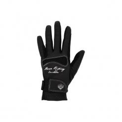 Rękawiczki jeździeckie Hexagirl damskie. Czarne rękawiczki damskie FOUGANZA, z elastanu. Za 59,99 zł.