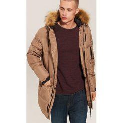 Pikowany płaszcz z kapturem - Brązowy. Brązowe płaszcze na zamek męskie marki House, l. Za 399,99 zł.