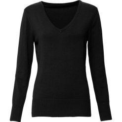 Swetry klasyczne damskie: Sweter z dekoltem w serek bonprix czarny